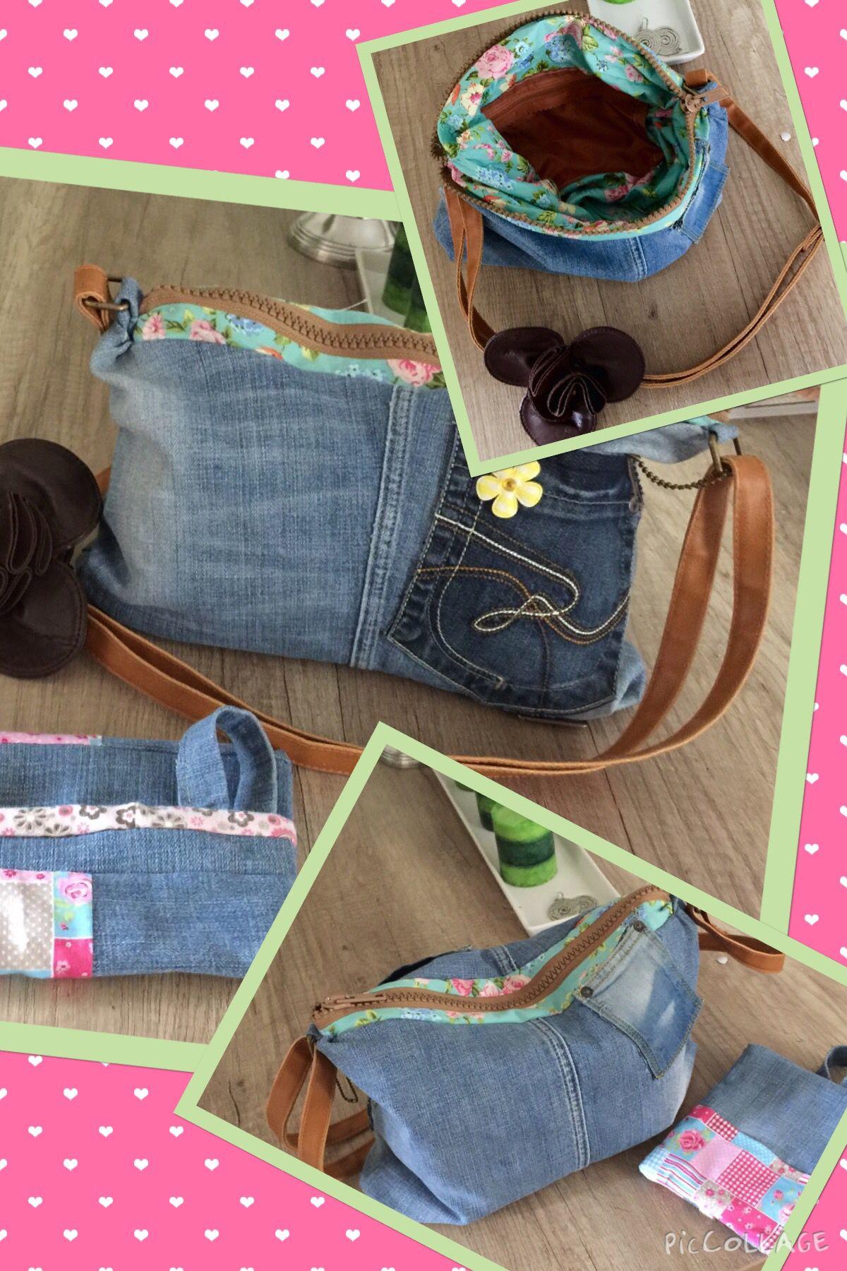 Cooles aus Jeans) Shopper und Feuchttüchertasche (mit