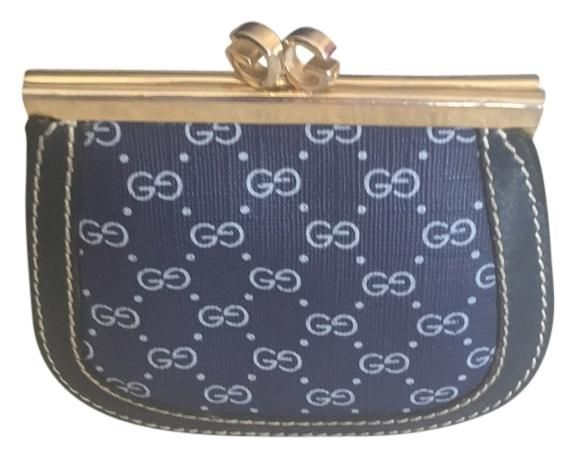 b64b78eedd6f Gucci Navy Blue Leather Micro Gg Coated Canvas Rare Vintage Coin Mad ...
