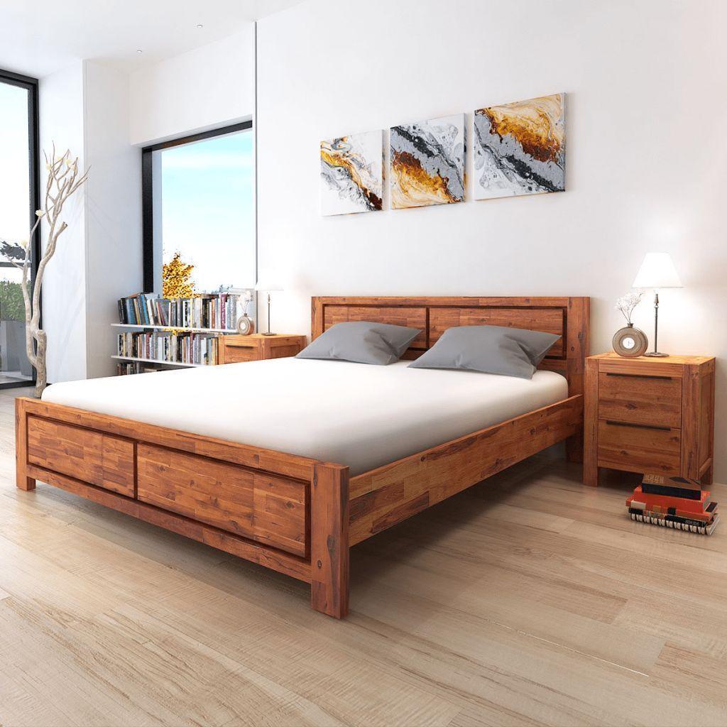 Solid Wooden Frame King Size Bed Headboard Set Brown Modern