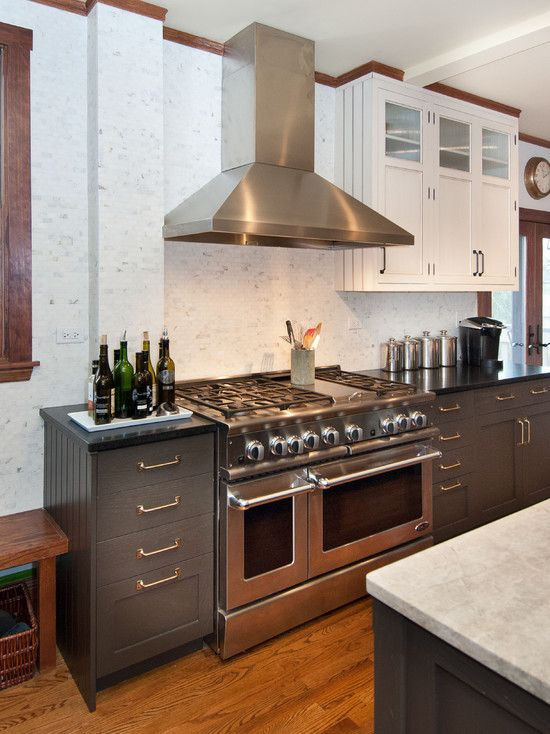 Black Lower And White Upper Kitchen Cabinets deep grey cabinetry & island w black tops on wall cabinetry and