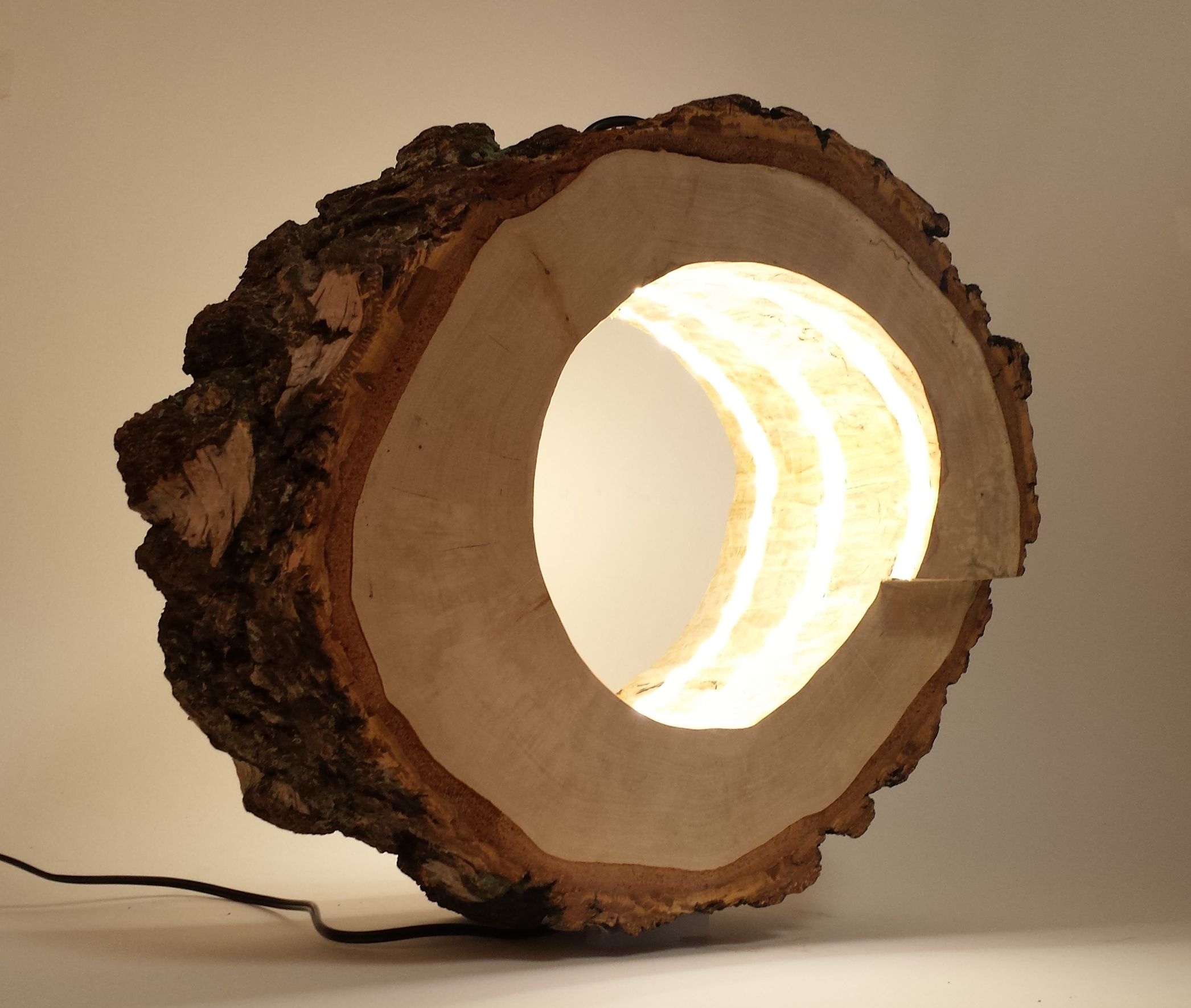 Ein Von Mir Selbst Hergestellte Lampe Aus Einem Hohlen Baumstamm