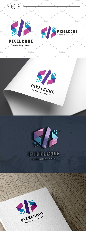 Pixel Code Logo Branding resources, Coding