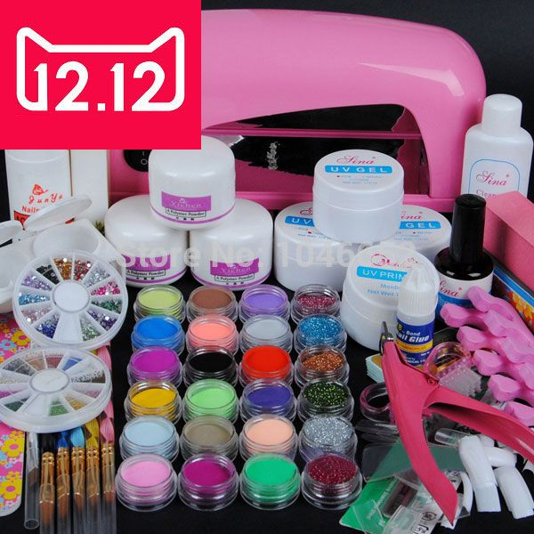 EM-70 9W UV dryer lamp 18 color Acrylic Powder and 6 colors glitter ...