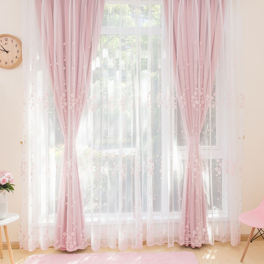 Pink Floral Embroidered Sheer Curtains For Girls Bedroom