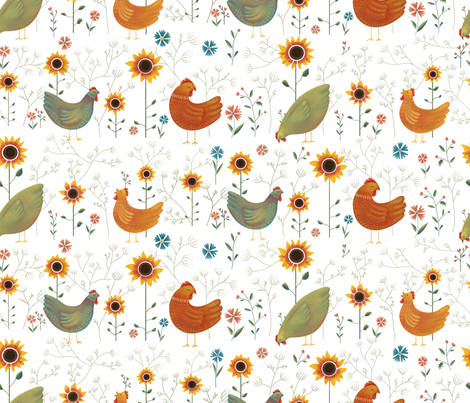 Chickens in the Garden - pink fabric by anna_ducos on Spoonflower - custom fabric