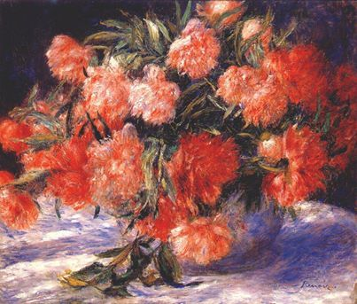 Pierre-Auguste Renoir (French, Impressionism, 1841-1919): Peonies (Peonies in a Vase; Bouquet of Peonies), c. 1880. Oil on canvas, 21-5/8 x 25-11/16 inches (54.9 x 65.3 cm). The Sterling and Francine Clark Art Institute, Williamstown, Massachusetts, USA.