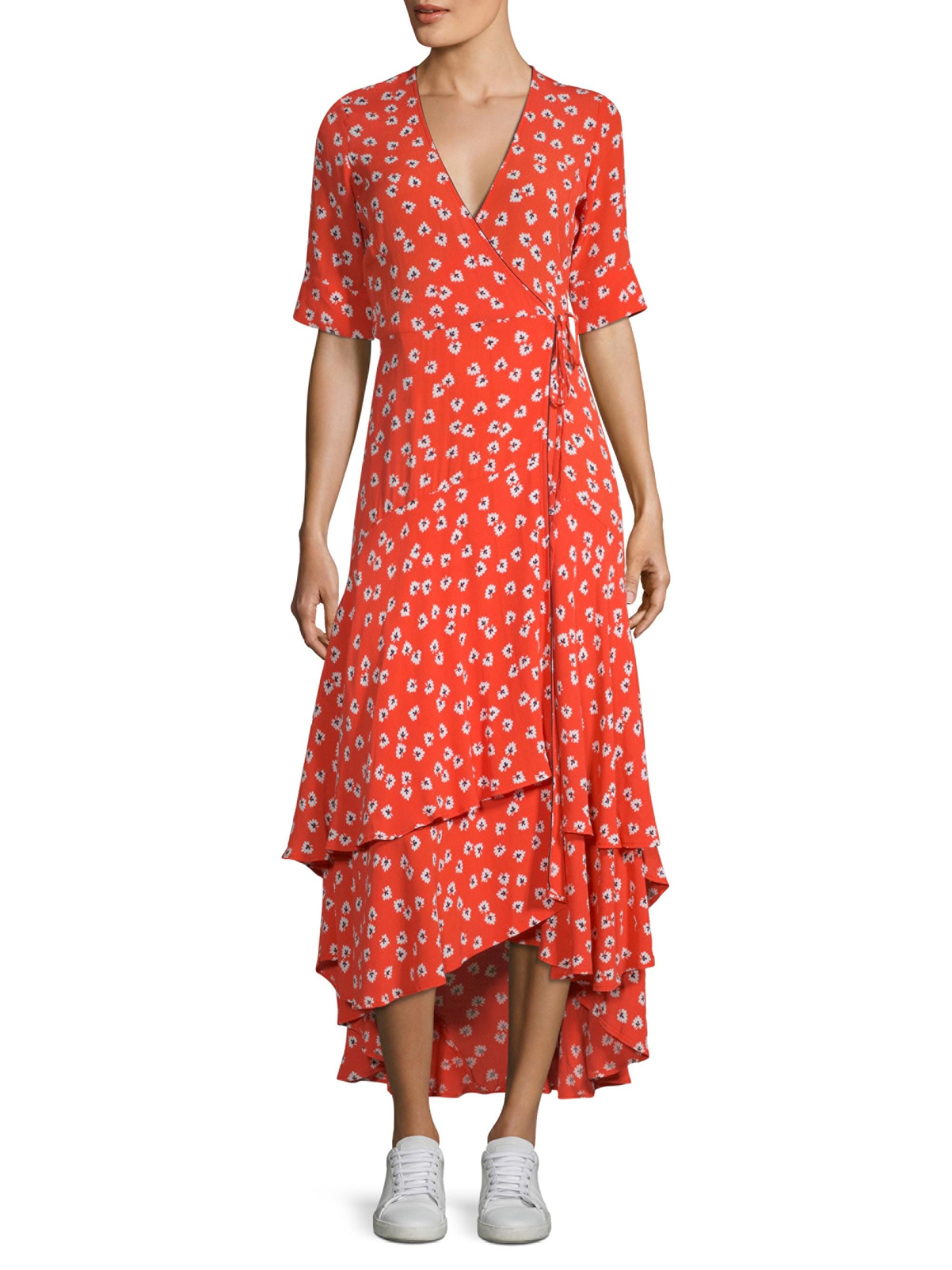 177b1b2269 Floral Wrap Midi Dress by Ganni in 2019 | Products | Wrap dress ...