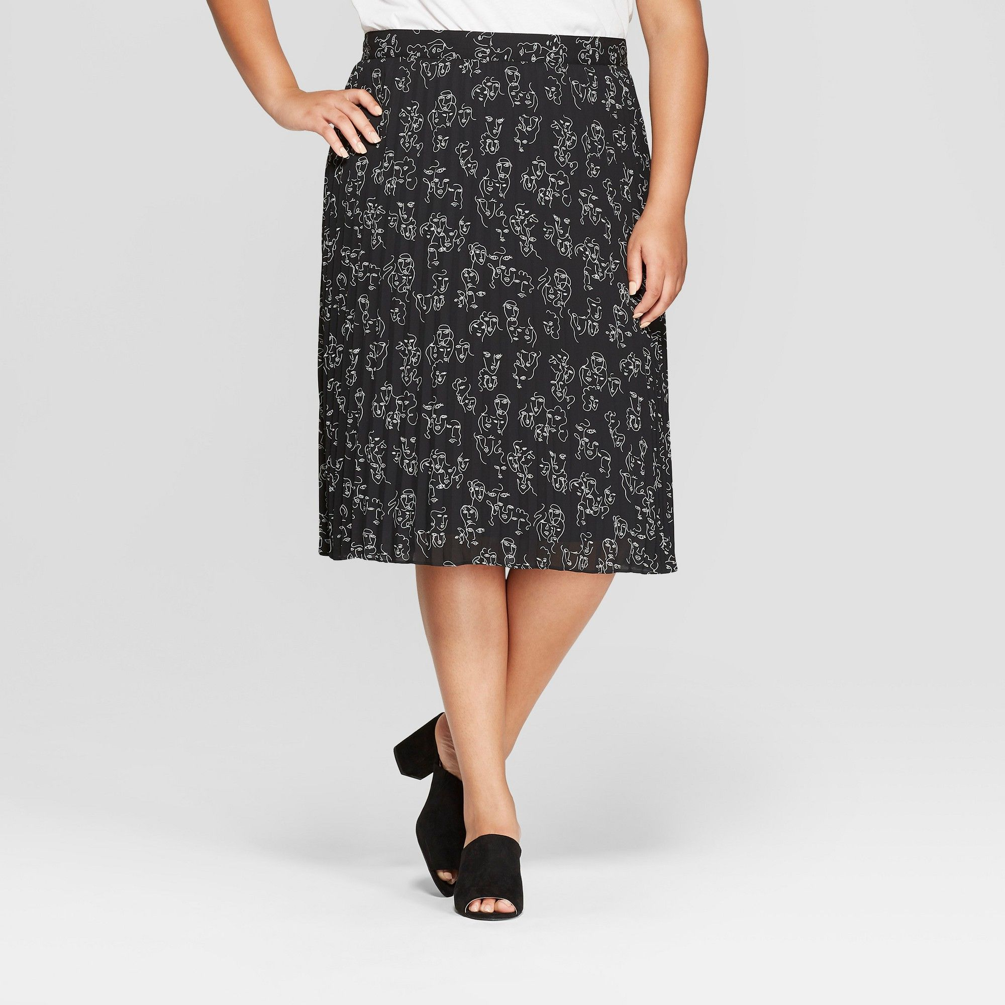 2266a39ab Women's Plus Size Printed Pleated Midi Skirt - A New Day + Vital Voices -  Black 3X
