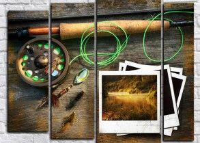 Модульная картина рыболовный инвентарь