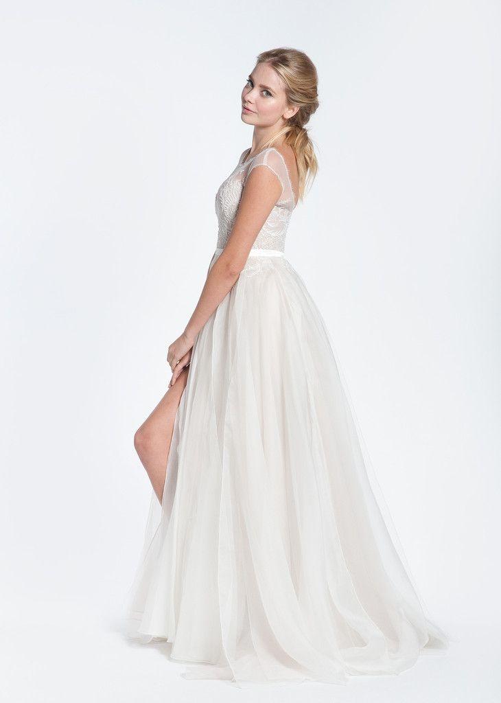 Paolo Sebastian Swan Lake Wedding Dress with Nude Bustier | Paolo ...