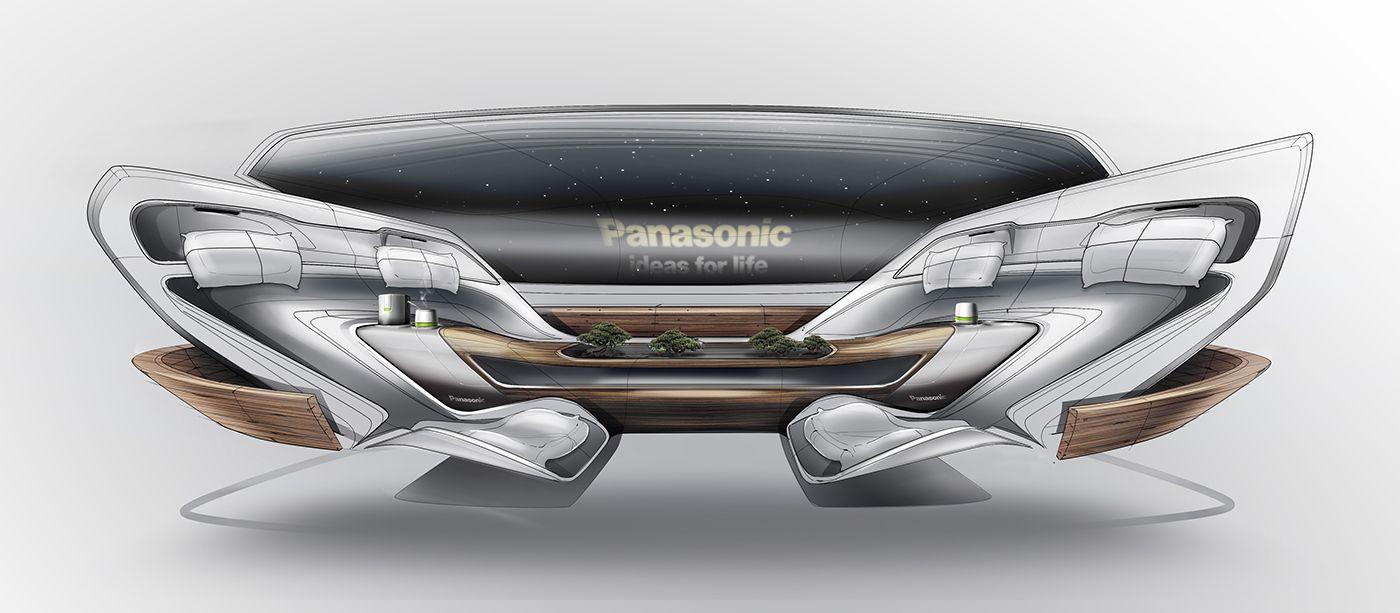 Panasonic S Future Car 2025 On Behance Car Interior Sketch Car
