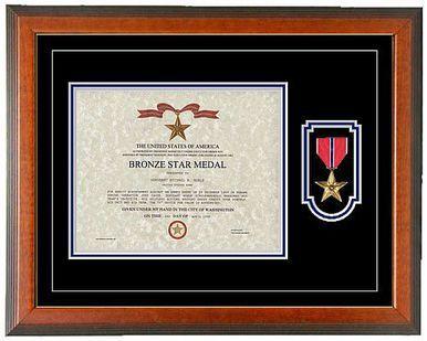 Bronze Star Certificate Frame Horizontal Certificate Frames Bronze Stars Frame