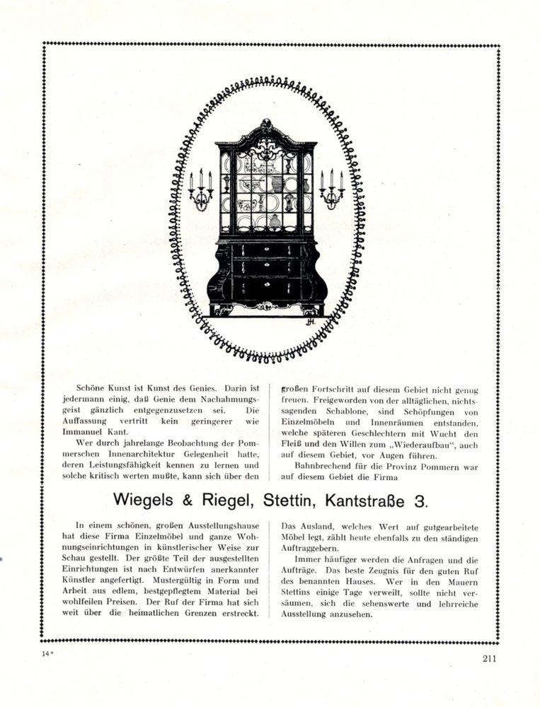 Möbel Wiegels Riegel Stettin Xl Reklame 1924 Szczecin Pommern