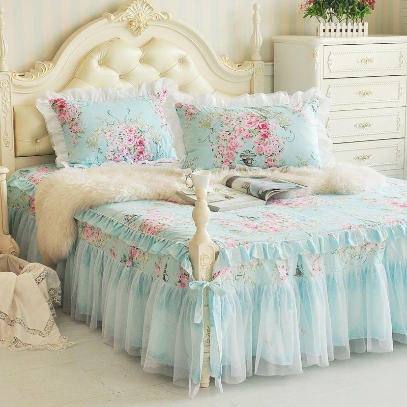 Coréenne princesse coton jupe de lit dentelle de coton couvre lit
