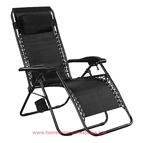 Giantex Folding Lounge Chairs Recliner Zero Gravity Outdoor Beach Patio  Garden (Black) BUY NOW