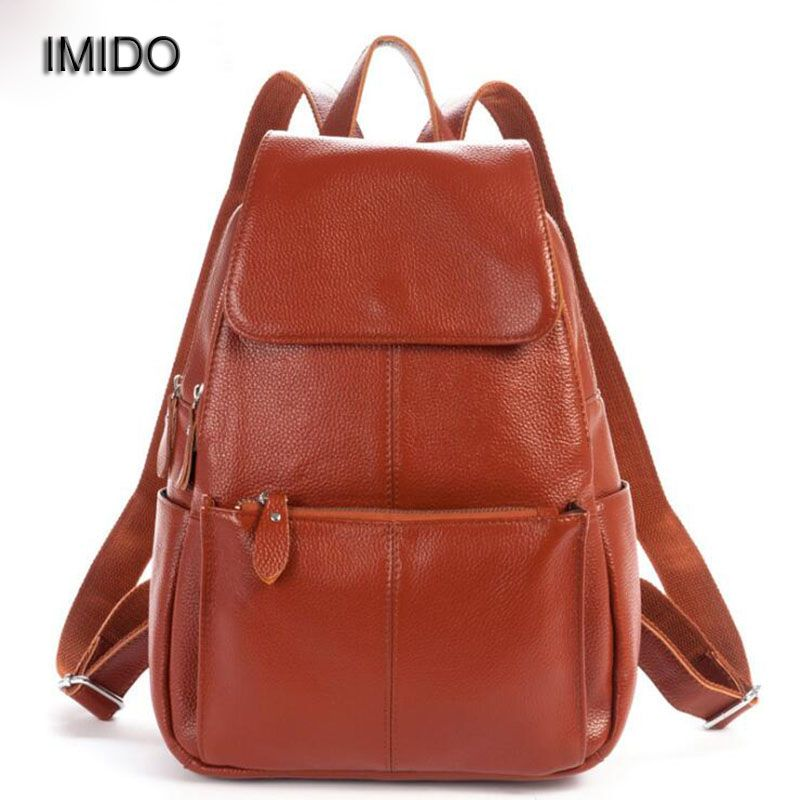 885072484934 IMIDO 2017 Real soft genuine leather women backpack woman Korean style  ladies strap laptop bag daily backpack girl school SLD013