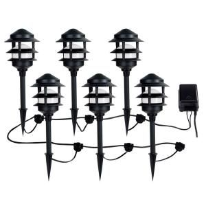 Ce Tech Low Voltage Black Audio Path Light Kit With Bluetooth Technology 6 Pack 29523 The Home Depot Landscape Lighting Kits Path Lights Low Voltage Outdoor Lighting
