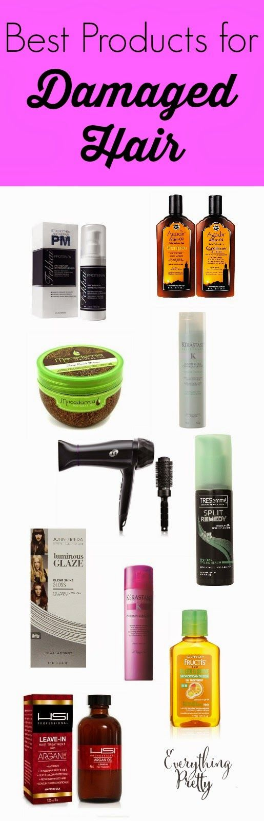 Best products for damaged hair: Hair masks, hair spray, shampoo, serums, and DIY recipes.