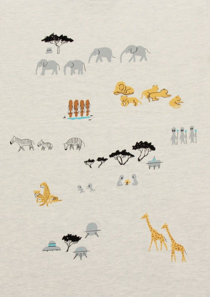 エイリアン リブス イン サファリ デザインtシャツストア グラニフ かわいい イラスト 手書き イラスト 手書き テキスタイル デザイン
