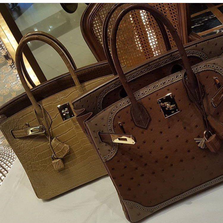 Hermes - crocodile Birkin bag and special order ostrich 'Ghillies' Birkin.