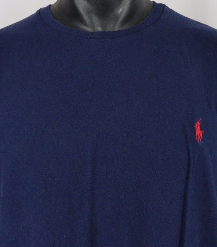 Polo Ralph Lauren Mens XL Crewneck T-Shirt Navy Blue Red Polo Pony Logo SS