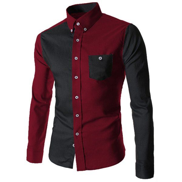 Domple Mens Color Block Checkered Long Sleeve Button Down Casual Slim Fit Shirt Top