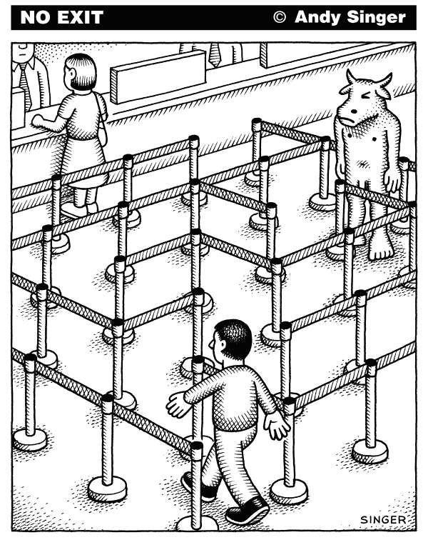 le Minotaure, le labyrinthe / 28 oct 2010 /  Andy Singer pour  Politicalcartoons.com