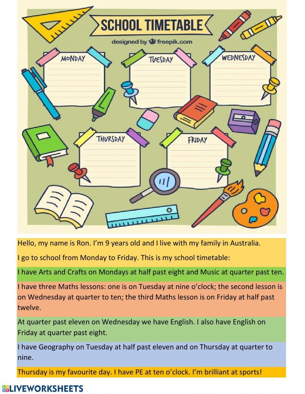 School Timetable Interactive Worksheet School Timetable School Subjects School [ 1291 x 1000 Pixel ]