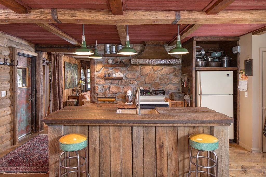 Rustic kitchen with wood counters custom hood restoration hardware barn mozeypictures Images