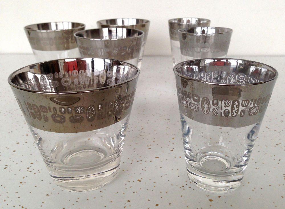 56fc7d1af3b8 Vintage Dorothy Thorpe Silver Rim Cocktail Glasses Atomic Starburst Mid  Century Lot 7