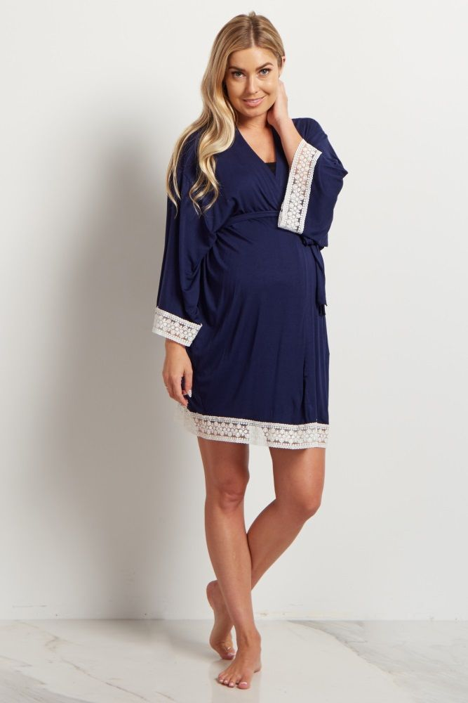 9c9e0ae09d391 Navy Lace Trim Delivery/Nursing Maternity Robe | Baby | Nursing robe ...
