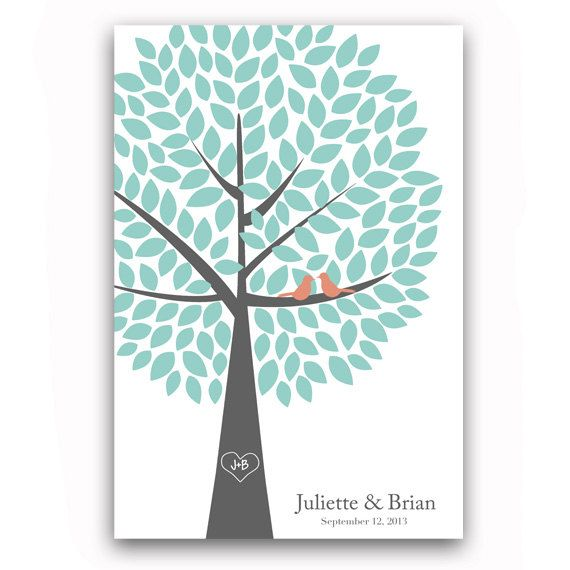 Wedding Guest Book Tree Guest Book Alternative for 150 Guests Tree Print Wedding Guest Book Poster in Turquoise and Coral