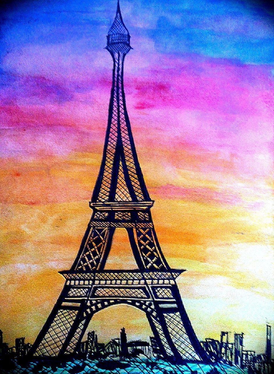 Eiffel Tower watercolor Paris sunset  Artistic  Paris