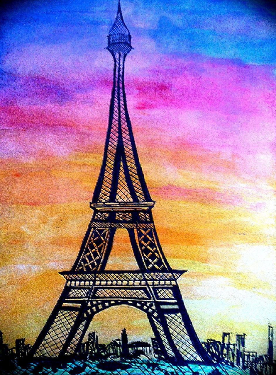 Eiffel Tower Watercolor Paris Sunset