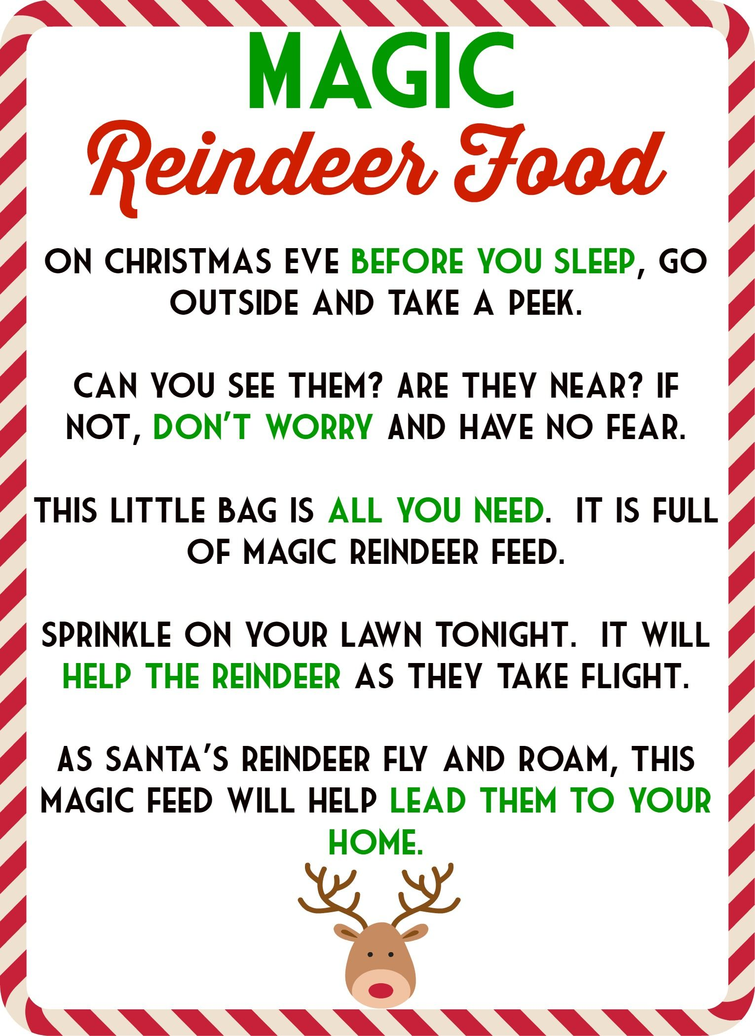 Magic Reindeer Food Poem Amp Free Printable