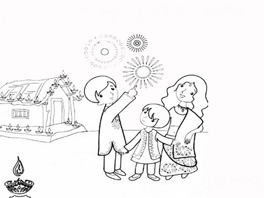 Biggest Collection Of Best Diwali Drawing For Kids 2015 Beautiful Happy Diwali Colouring Pages ...