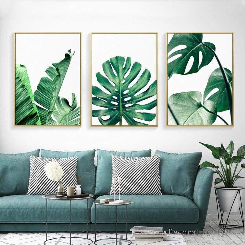 Green Big Leaves Wall Art Leaf Wall Art Cool Walls Canvas Wall Art