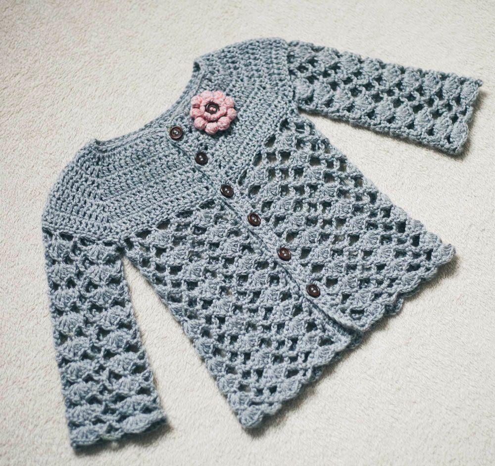 Crochet Cardigan PATTERN - Sweet Little Cardigan (sizes 0-6,6-12,1-2 ...