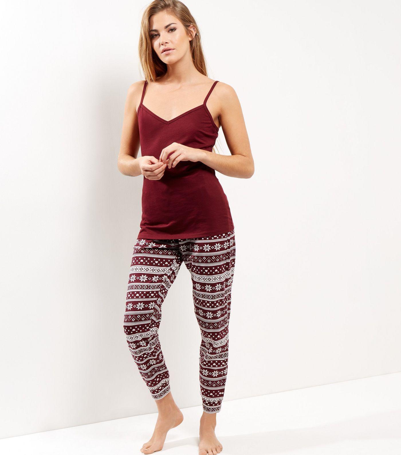 4927838409a New Look - Petite - Fairisle Pyjama Set in burgundy