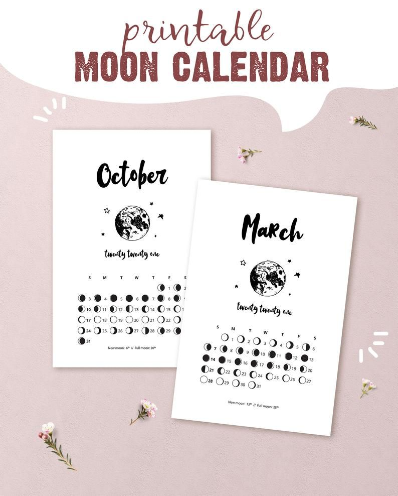 Printable Moon Phase Calendar 2021 2021 Printable Lunar Calendar moon phase calendar for | Etsy