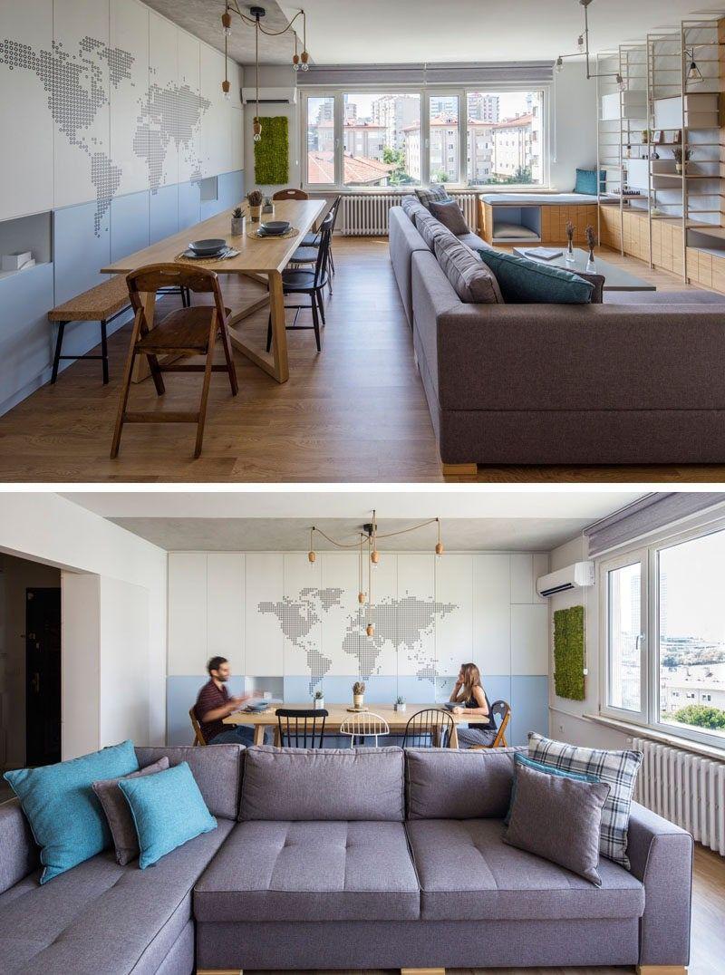 In Dieses Moderne Apartment Teilen Wohnzimmer Und Esszimmer Den Gleichen  Raum. Ein Kleiner Ausschnitt Vor Dem Fenster Erzielt Worden In Einen  Fensterplatz, ...
