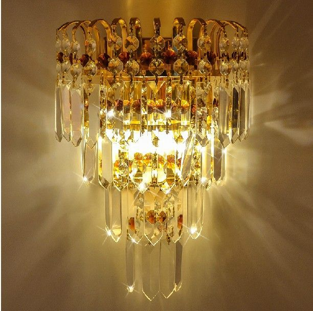 crystal wall lights sconce Lamps crystal K9 wall lamp gold living ...