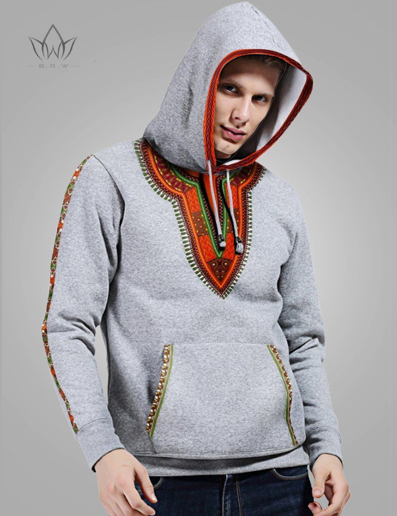 Cool Mens Top Hipster Pineapple Long Sleeve Gray Cotton Hooded Sweatshirt Trend