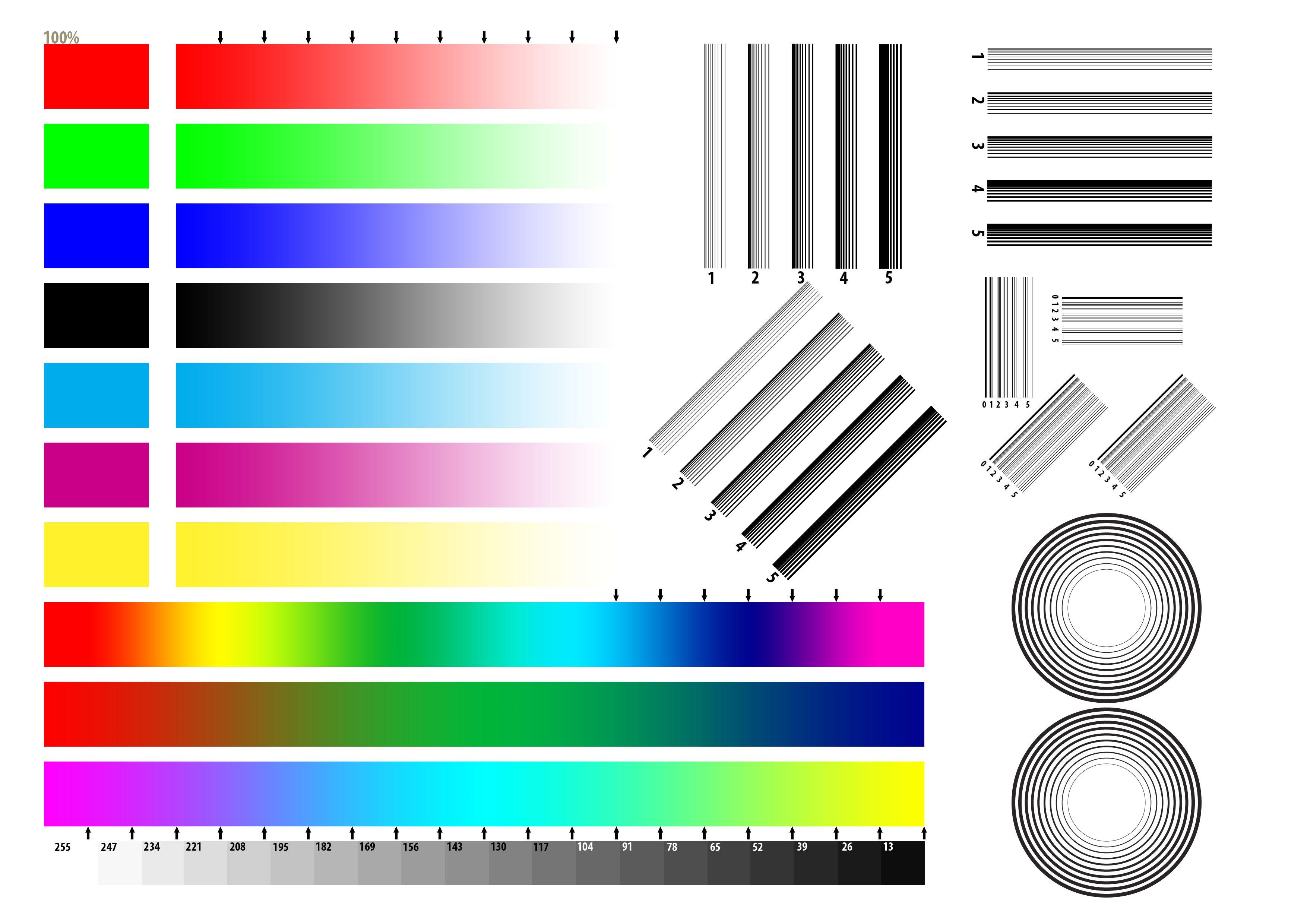 Цветные картинки для проверки струйного принтера