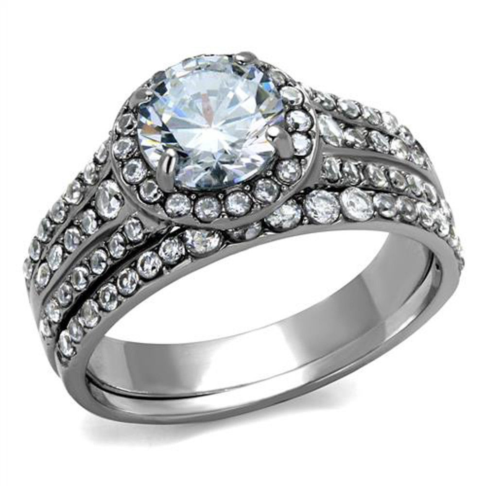 High Polished Stainless Steel Clear AAA CZ Womens Wedding Ring Set