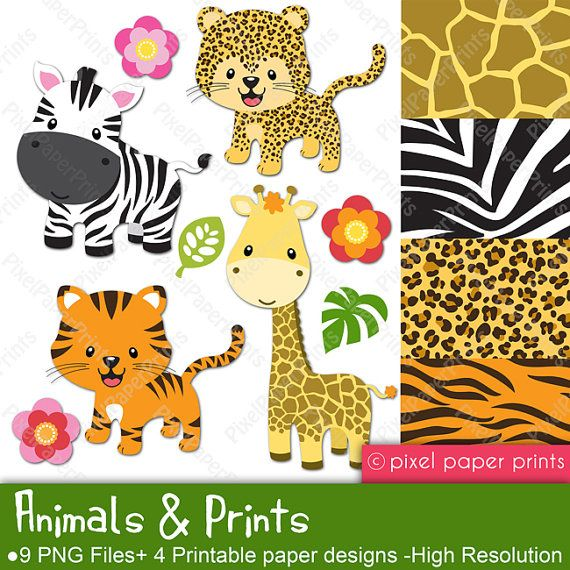 Animals and Prints Clipart and Digital paper door pixelpaperprints
