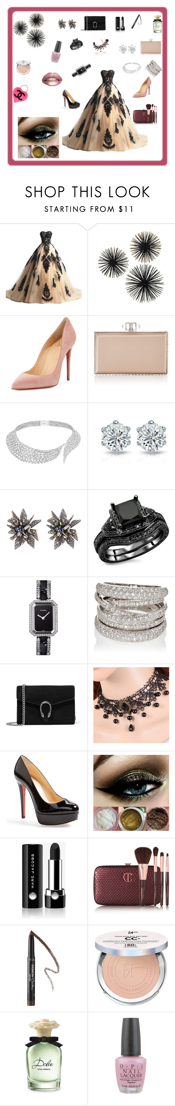 """Noche de Amor."" by gbgerafin ❤ liked on Polyvore featuring Christian Louboutin, Judith Leiber, Messika, Alexis Bittar, Chanel, Sidney Garber, Gucci, Marc Jacobs, Charlotte Tilbury and Givenchy"