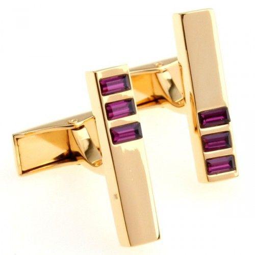 romance red crystal plating gold cufflinks