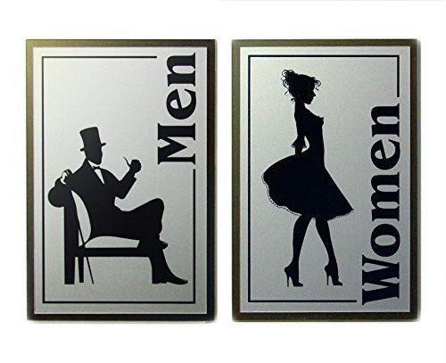 Robot Check Bathroom Signs Restroom Sign Art Deco Bathroom