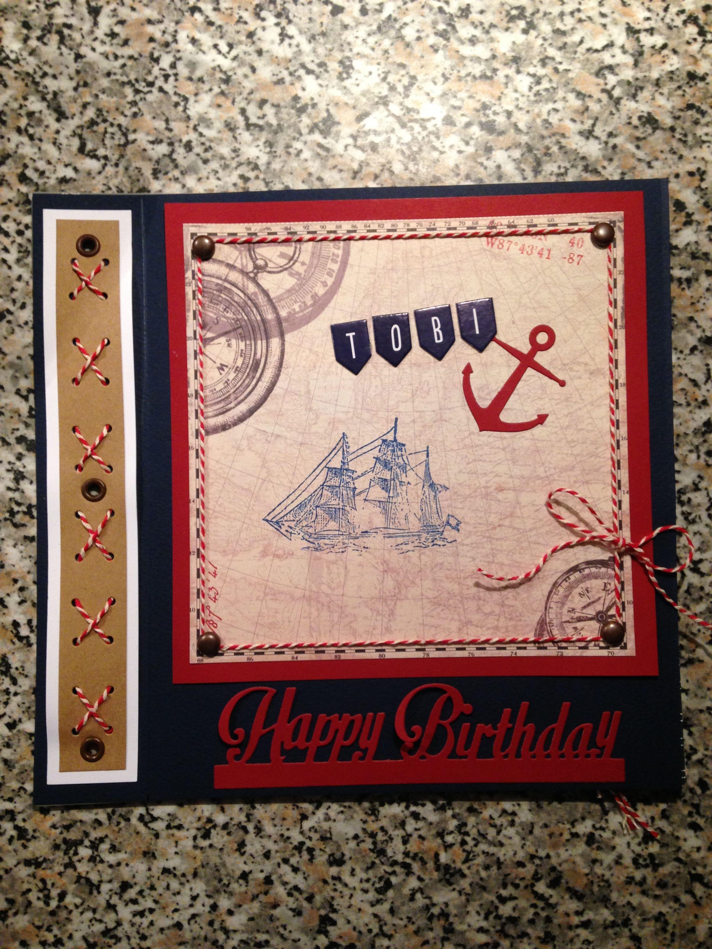 Birthday Card Maritime (1) Card craft, Everyday card